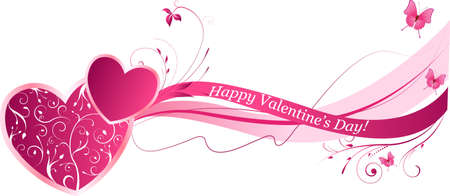 Valentines floral wave background in pink color Vector