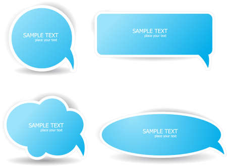 Four different speech bubbles in blue color Stock Vector - 17758458