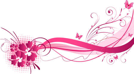 Hibiscus flowers with wave floral design in pink color Vector