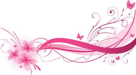 papillon rose: Plumeria fleurs avec un design floral vague de couleur rose Illustration