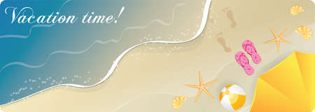 flipflops: Beach ocean  banner with umbrella, starfishes and flip-flops. Top view. Illustration
