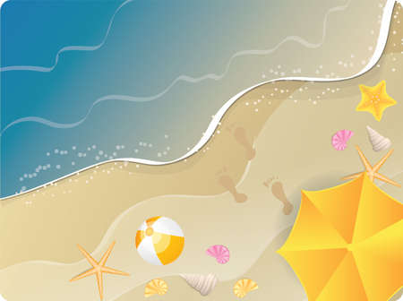 footprints in sand: Beach ocean  banner with umbrella, starfishes and flip-flops. Top view. Illustration