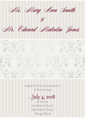 Wedding invitation in delicate beige colors with damask floral decoration ornament Vector