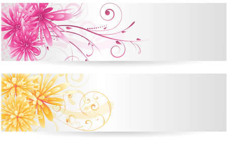 Banners with colorful abstract aster flowers - in pink and orange colors Vector