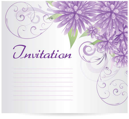 aster: Invitation template with purple abstract flowers and swirl floral elements