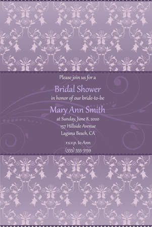 Bridal shower invitation in beige and blue colors with damask floral decoration ornament Vector