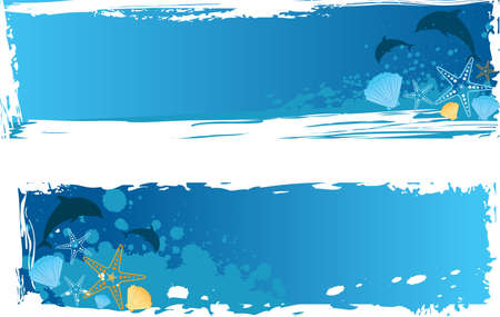 Blue grunge sea banner with dolphins, starfishes and seashells Vector