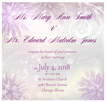 Wedding invitation with purple abstract flowers background and floral swirls Vector