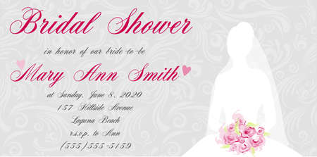 Bridal shower invitation with brides silhouette on swirls light background Vector