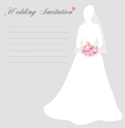 vows: Wedding invitation with bride silhouette on light background Illustration