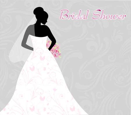 wedding vows: Bridal shower invitation with brides silhouette on swirls light background