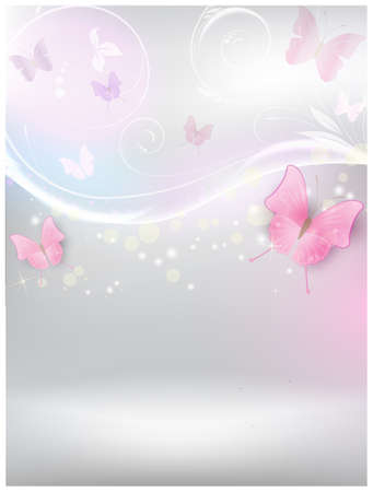 Abstract vector shiny background with floral elements and color butterflies