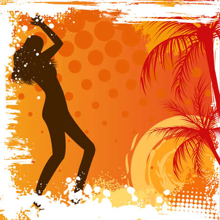 Dancing girl on orange grunge background with palm trees Stock Vector - 20146985