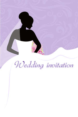 Wedding invitation with brides silhouette on swirls purple background Vector