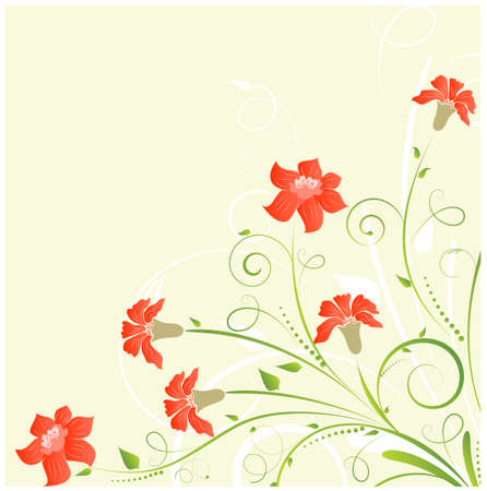 Floral corner background with bright flowers Иллюстрация