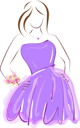 Abstract girl in purple prom dress with wrist corsage