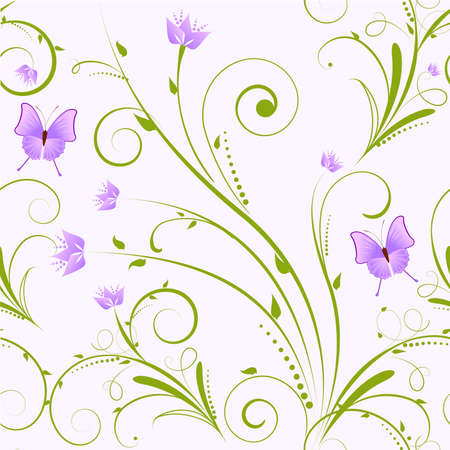 purple butterfly: Seamless floral ornament with flowers and butterflies
