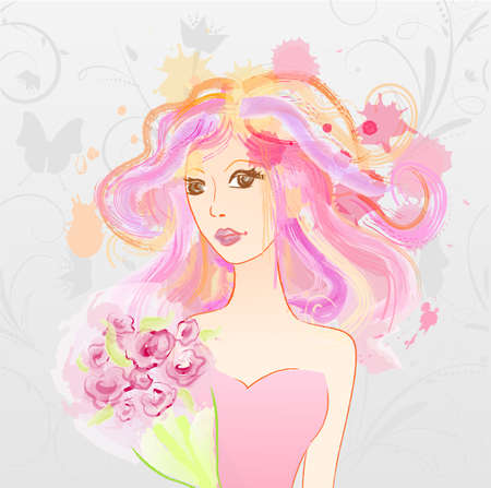 messy hair: Abstract watercolor imitation painted girl with pink messy hair holding bouquet