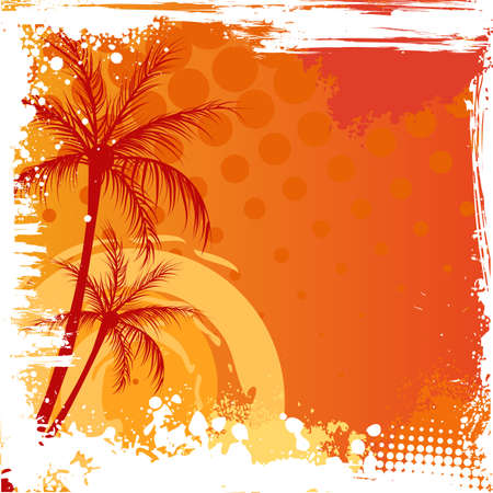 tropical beach: Palm trees on orange sunset background with grunge corners