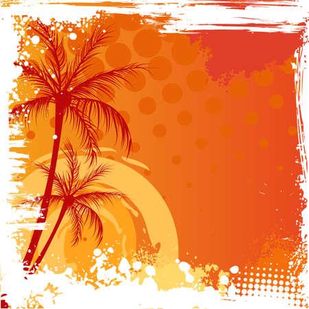 fiesta en la playa: Palmeras en la puesta de sol de color naranja de fondo con esquinas grunge