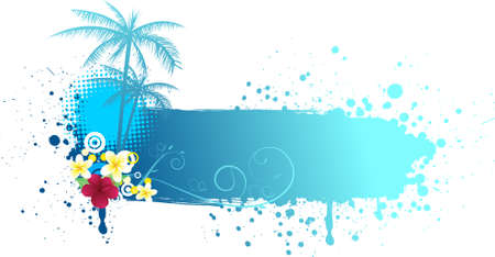 Grunge blue banner with palms and florals Vector