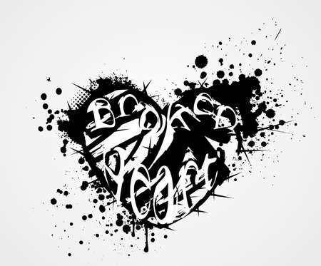 abstract heart: Grunge heart with broken heart symbol and thorns