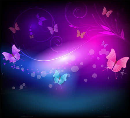 Abstract vector shiny horizontal background with floral elements and color butterflies in dark colors Ilustração
