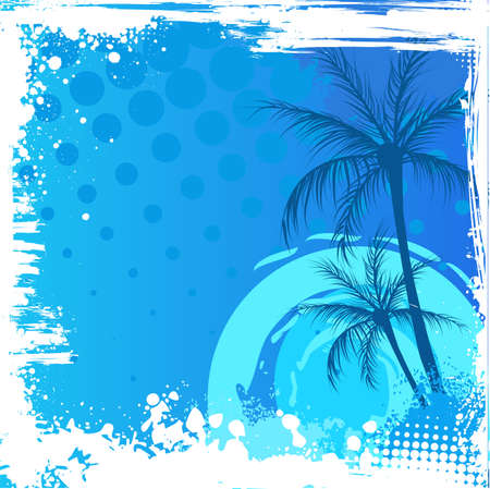 Palm trees on blue sunset background with grunge corners