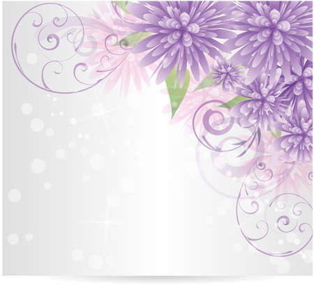 floral scroll: Background with purple abstract flowers and swirl floral elements