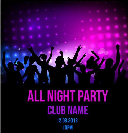 Cartel para la fiesta disco con las siluetas de personas bailando