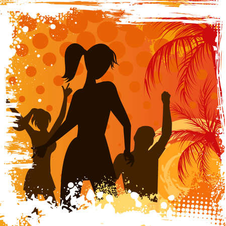 Orange grunge palm background with dancing people