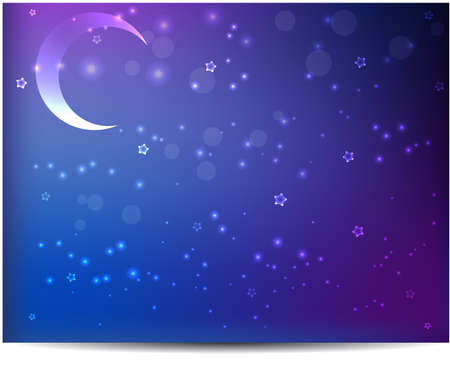 purple stars: Night abstract background with moon and stars