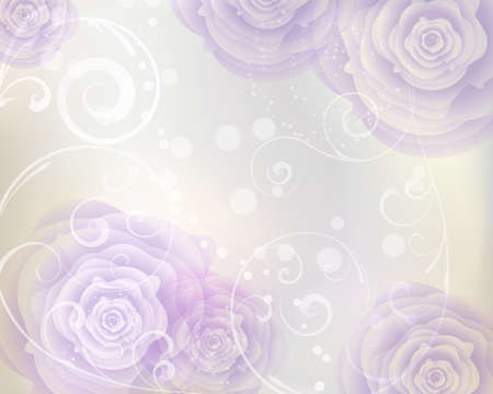 Pastel colored background with purple roses and floral swirls Vector