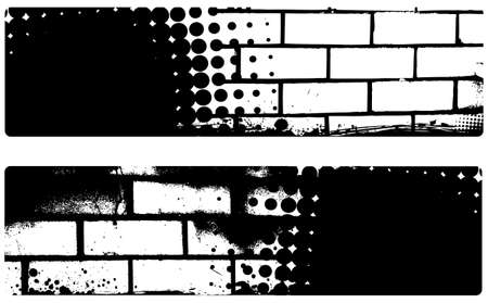 grunged: Grunge banner in black and white colors with  halftone pattern and brick walls