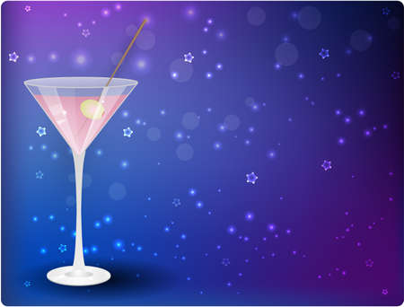 aperitif: Glass of pink martini on night stars blue background