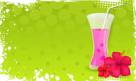 Green grunge halftone frame banner with glass of juice and hibiscus flowers Vector