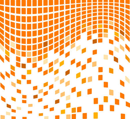 color separation: Simple waving orange mosaic background