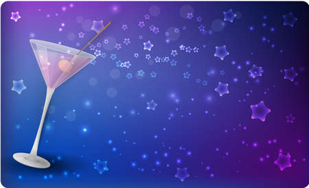 aperitif: Slanted glass of pink martini on night stars blue background