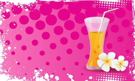 martini splash: Pink grunge halftone frame banner with glass of orange juice and plumeria flowers