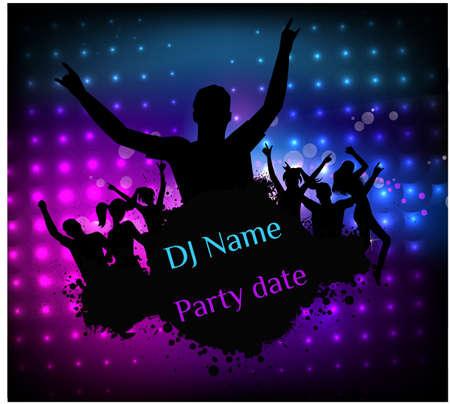 fiesta dj: Plantilla del cartel para la fiesta de discoteca con siluetas de personas bailando y elementos grunge Vectores