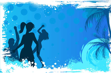 blue star background: Blue grunge palm background with dancing people Illustration