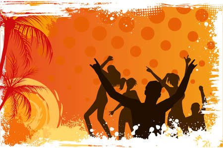 Orange grunge palm background with dancing people Vector