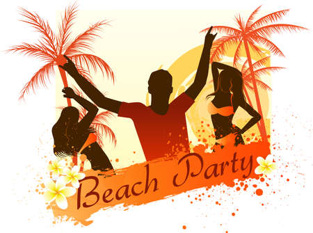 Beach party grunge background with dancing people, palm trees and frangipani flowers Vector