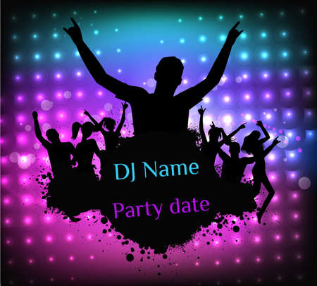 party dj: Poster template for disco party with silhouettes of dancing people and grunge elements Illustration