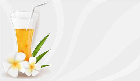pink plumeria: Healthy orange juice with frangipani flowers and leaves Illustration