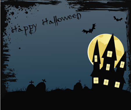 Halloween grunge frame background with spooky house near graveyard on the full moon