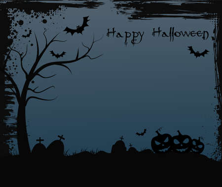 Halloween background with spooky tree, grave tombstones and three jack olantern pumpkins Illustration