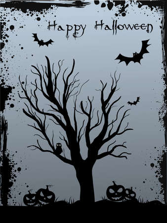Halloween background with tree silhouette, jack o'lantern pumkins and bats