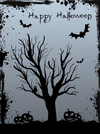 bonsai: Halloween background with tree silhouette, jack olantern pumkins and bats