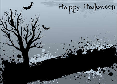 Halloween background with tree silhouette and bats on grunge elements Vector